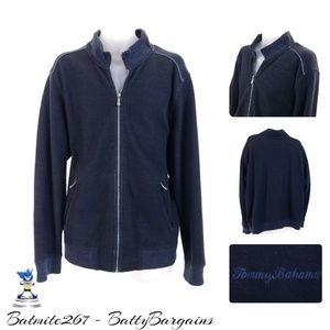 XL Tommy Bahama Navy Full zip Sweater Jacket Navy
